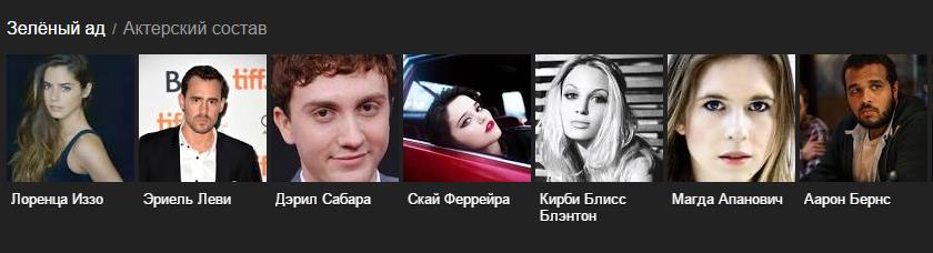 Роли и актеры фильма «Зеленый ад» 2014 года